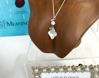 Chalcedony Lotus Flower Sterling Silver Necklace
