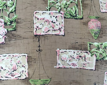 """SALE - 50s MCM Abstract//Birchwood Vat Prints// """"Durbar"""" //Cot Barkcloth//Green/Pink Medallions/Planters on Taupe/Blk/Sand Textured Grnd//OP"""