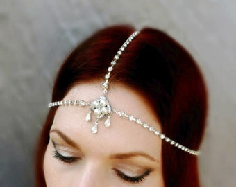 Vintage Pearl Rhinestone Art Deco Headpiece - Rhinestone Headdress - Flapper Head Piece - Vintage Wedding