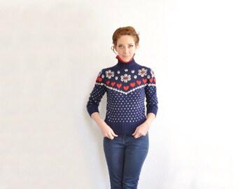 HEART knit fair isle sweater . nordic ski lodge wool knit jumper .extra small.xs .sale