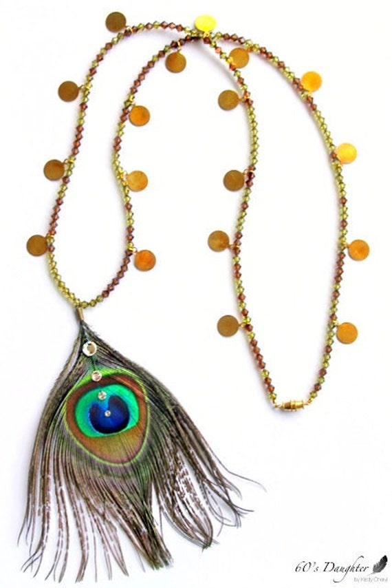 SALE!! * Peacock Feather * Swarovski Crystal  & Gold Coin Necklace * Wild Thing