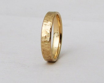 distressed wedding band mens gold wedding ring 14k mens wedding bands unique wedding rings rugged rustic wedding bands mens jewelry gift - Mens Gold Wedding Rings