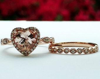Morganite and Diamond Bridal Wedding Set, Engagement Ring, Heart Shape Ring, Bridal Jewelry