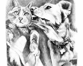 Custom Pet Portrait Custom Personalized Sketched Portrait 2 Subjects
