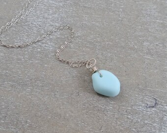 Smooth Baby Blue Milk Glass Pendant on Sterling Silver Chain