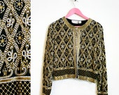 Vintage 1980s-90s Lawrence Kazar Silk-Beaded Cocktail Jacket Size M-L