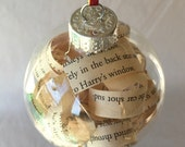 Harry Potter Book Ornament, Recycled Book Gift, Glass Christmas Ornament, Harry Potter Lover Gift, Harry Potter Tree Ornament, Book Ornament