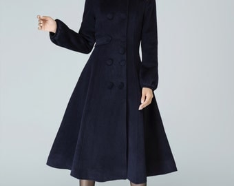 dark blue coat, wool coat, swing coat, double breasted coat, cashmere coat, coat, fitted coat, custom made, high collar, Mod clothing 1600