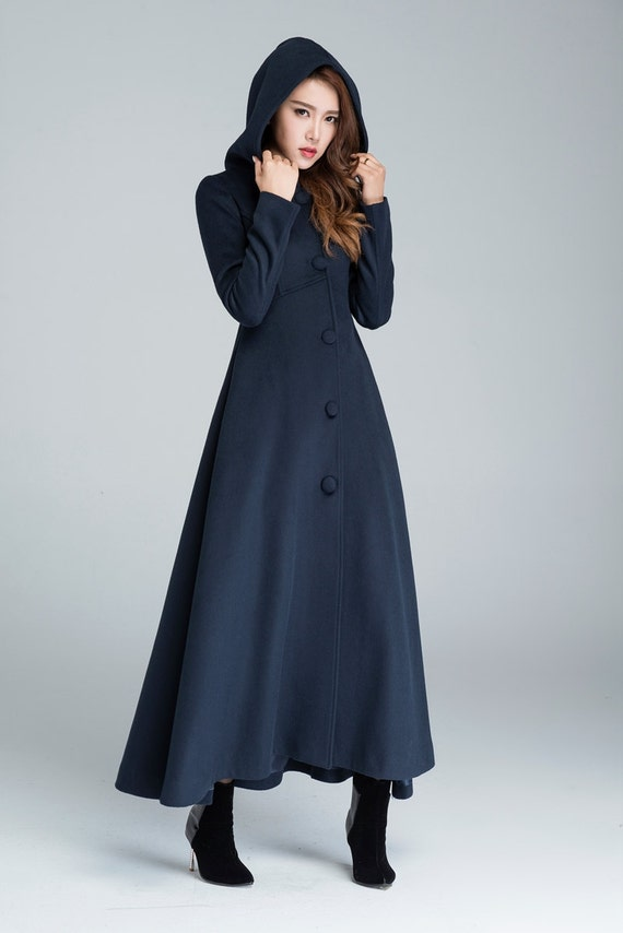 wool coat winter coat maxi coat navy blue warm coat