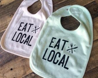 Organic Baby Bib - Eat Local, Ready to Ship