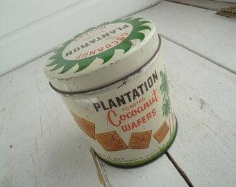 Vintage Plantations Cocoanut Wafers Tin