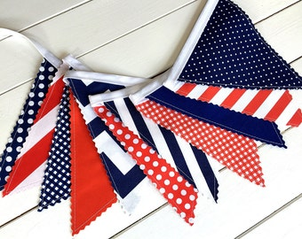 Bunting Banner,Photo Prop,Fabric Flags,Birthday Decoration,Nursery Decor,Fourth of July,Independence Day-Red,Navy Blue,Chevron,Stripes