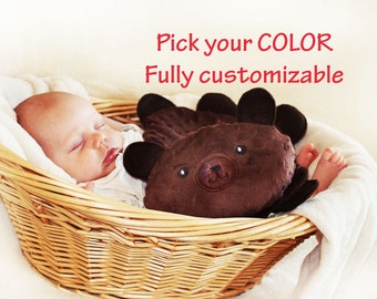 Brown Minky Teddy Bear Security Blanket, Lovey Blanket, Satin, Baby Blanket, Stuffed Animal, Baby Toy - Customize Color - Add Monogramming