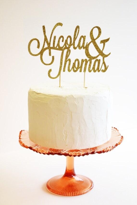 Glitter custom name cake topper or wedding decoration