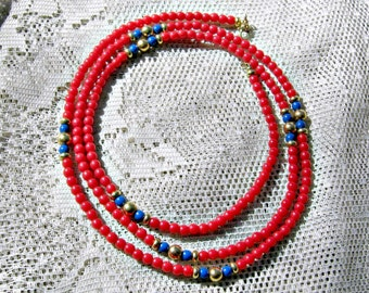 Monet 34 in. Necklace Vintage 60s Jewelry Red Blue Glass Beads
