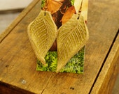 """Earrings 3"""" Sand Leather Leaf, Woodsy, Leaves, Autumn, Fall, Unique, Handmade, Lightweight, Soft, Dangle, Woodland"""