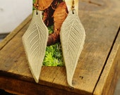 """Earrings 4"""" Cream White Leather Leaf, Woodsy, Leaves, Autumn, Fall, Unique, Handmade, Lightweight, Soft, Dangle, Woodland"""