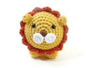 Lion Amigurumi Plush Toy, Crochet Safari Stuffed Animal Lion, Roly Poly Lion, Stuffed Animal Zoo Kids Room Decor, Safari Decor Plush Lion