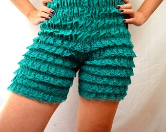 Vintage Teal Blue Pastel Ruffled Rockabilly Bloomers - Malco Modes