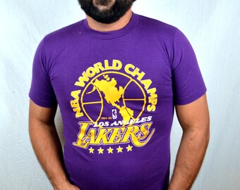 Vintage 1980s LA Los Angeles Lakers World Champions NBA Basketball Purple Tshirt Tee Shirt