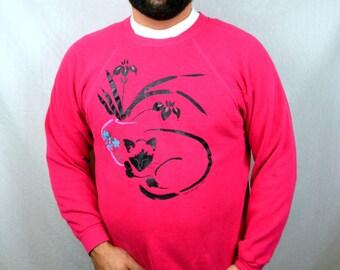 Vintage 80s Pink Cat Sweatshirt