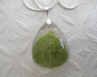 Summer Aspen Leaf Large Domed Glass Teardrop Pendant-With Love From Colorado-Symbol of Determination, Overcoming Fears,Doubts-Gifts Under 35