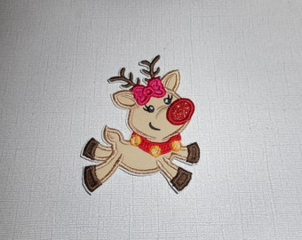Free Shipping Ready to Ship Girly  Reindeer fabric iron on applique