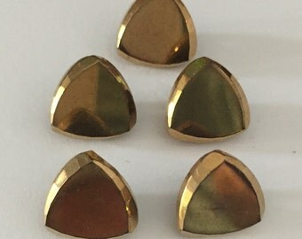 Vintage Czech Glass Buttons - 5  Gold Metallic