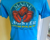 Maine Lobster Company 1980s blue vintage tee shirt size medium