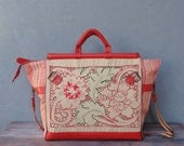 Romantic Getaway Weekender Travel Bag - Leather Caryall, Vintage Embroidery and Linen Floral Striped Traveling Bag