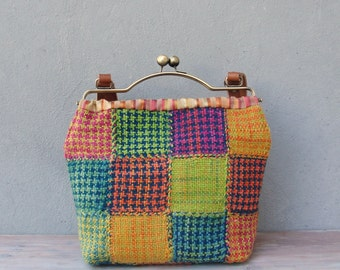 Patchwork Bohemian Bag, Hand Woven, Woven Bag, Leather Straps, Kiss-lock, Boho