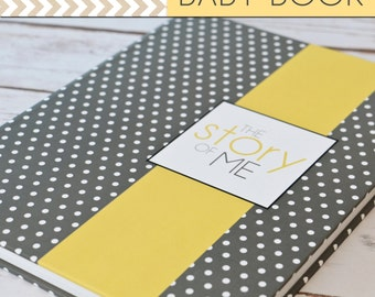SALE // Baby Book/Baby Journal/Gender Neutral - Grey Polka Dot with Yellow Stripe Cover,Perfect Bound (Pregnancy - 5 Years)