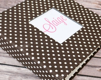 Baby  Book - Brown Dots  (80 designed journaling pages & personalization included with every album)