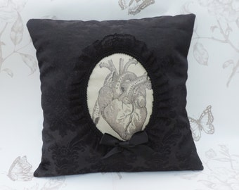 Gothic anatomic heart cameo throw pillow - gothic home decor- halloween decoration- gothic cushion-macabre pillow-goth victorian-