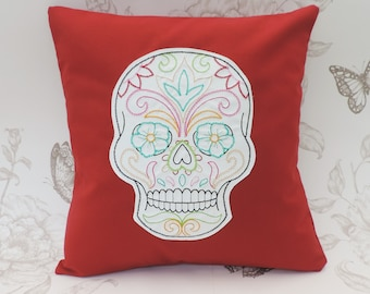 Sugar skull pillow, gothic pillow, cushion, rockabilly decor,cavalera, day of the dead, colorfull embroidered cushion red