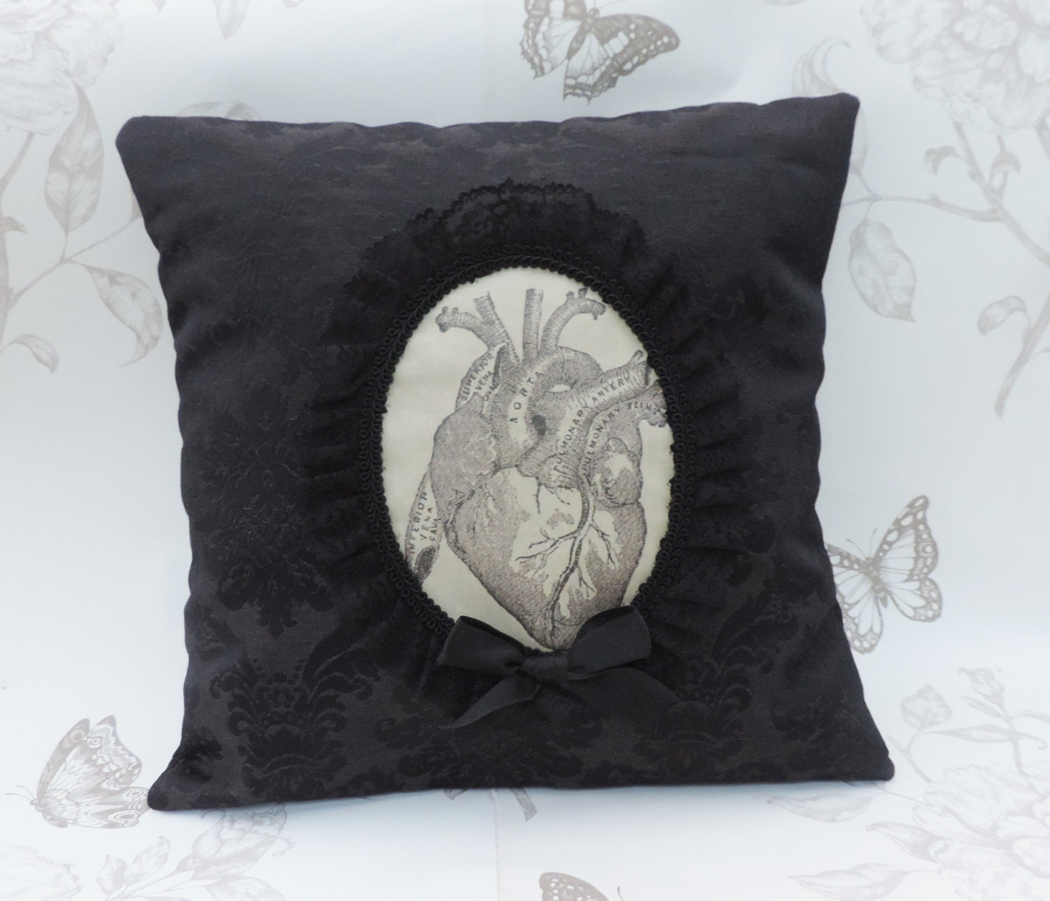 Victorian Heart Throw Pillows : Gothic anatomic heart cameo throw pillow gothic home decor