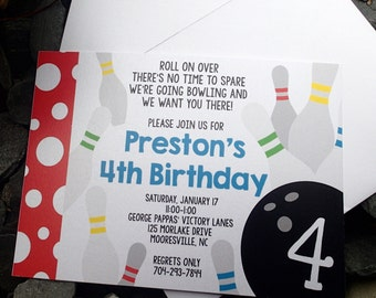 Bowling Party Invitations, Birthday Party Invitations, Childs Party Invitation, Themed Party Invitations