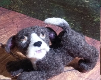 Puppy Dog Needle Felted Brown and White Puppy Statue