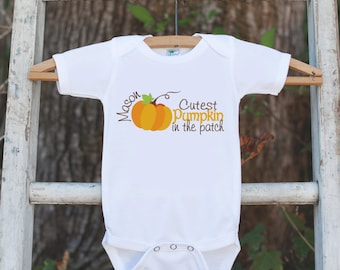Cutest Pumpkin in the Patch Outfit - Fall Autumn Pumpkin Onepiece or Tshirt for Boys or Girls - First Thanksgiving or Halloween - Happy Fall