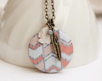 Tribal Chevron Locket Necklace