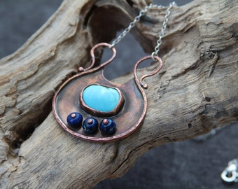 Turquoise Amulet - Copper pendant with genuine Turquoise - Sleeping beauty pendant - Amulet pendant - OOAK pendant - ready to ship