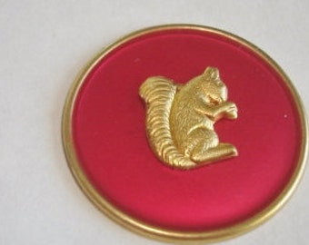 Squirrel  Brooch Ruby Red Gold Tone