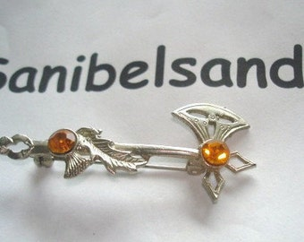 Signed Silver Scottish Axe Topaz  Stones Brooch