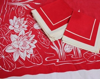 Tablecloth Bold Red White Lily Pads Cat tail plus 6 Napkins Mid century Modern VINTAGE by Plantdreaming