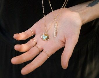 14kt Gold Filled Hammered Medallion Stacked with Aqua Blue Triangle Pendant, Stacked Circle Long Necklace, Geometric Layering Necklace