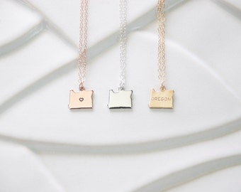 Gold Oregon Necklace, State Necklaces, Silver Pendant Oregon, Heart State, Minimal Jewelry, Everyday Necklace, Layering Necklace, bracelet