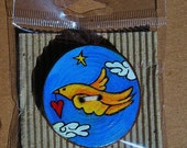 "Unique ""Yellow Bird""  Hand made wooden Button"
