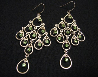 BIG Vintage Silver Tone and Green Peridot Crystal Diamond Rhinestone Cascading Teardrop Chandelier Dangle Pierced Earrings