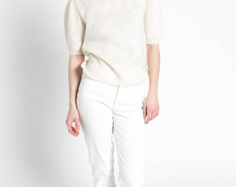 Vintage 70s Ivory White Wool Fuzzy Short Sleeve Sweater Top | L
