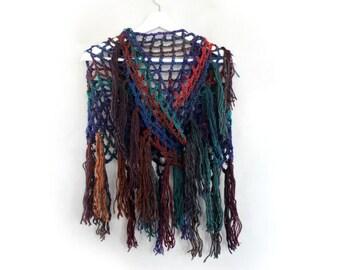 Crochet Shawl Triangle Wrap Shawl Knit Shawl Crocheted Shawls Triangle Scarves Fishnet Shawl Womens Winter Shawls Colorful Finge Scarf